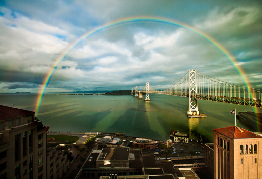 San Francisco Rainbow over the Bay Bridge by Lisa Bettany (used with permission)